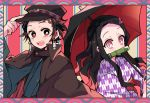 1boy 1girl alternate_costume amesawa_mokke bamboo bit_gag black_hair black_headwear blush_stickers border brother_and_sister brown_hair coat earrings facial_scar gag hair_slicked_back hanafuda hat hat_tip japanese_clothes jewelry kamado_nezuko kamado_tanjirou kimetsu_no_yaiba kimono long_hair looking_at_another looking_at_viewer multicolored_hair obi open_mouth parasol patterned_background pink_eyes red_eyes redhead sash scar short_hair siblings side-by-side slit_pupils two-tone_hair umbrella upper_body