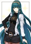 1girl absurdly_long_hair absurdres asymmetrical_sleeves bangs black_shirt black_shorts blue_eyes blue_hair blunt_bangs breasts brown_legwear cleopatra_(fate/grand_order) closed_mouth cowboy_shot diadem earrings eyebrows_visible_through_hair facial_mark fate/grand_order fate_(series) floating_hair harutask highres jacket jewelry long_hair long_sleeves looking_at_viewer medium_breasts open_clothes open_jacket pantyhose shirt short_shorts shorts smile solo standing very_long_hair white_background white_jacket
