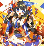 1girl animal_ears bandages bandaid bell black_hair bone breasts fang flower frills hair_flower hair_ornament highres jingle_bell long_hair long_sleeves looking_at_viewer necktie open_mouth original paw_print ribbon saijo1201 small_breasts solo tagme twitter_username