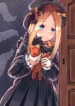 1girl abigail_williams_(fate/grand_order) bangs black_bow black_dress black_headwear blonde_hair blue_eyes blush bow closed_mouth commentary_request door dress eyebrows_visible_through_hair fate/grand_order fate_(series) forehead greypidjun hair_bow hat highres holding holding_stuffed_animal keyhole long_hair long_sleeves looking_at_viewer orange_bow parted_bangs polka_dot polka_dot_bow sleeves_past_wrists solo stuffed_animal stuffed_toy teddy_bear tentacles