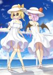2girls :d alternate_costume bare_arms bare_shoulders bat_wings blonde_hair blue_sky bow clouds collarbone commentary_request crystal day dress flan_(seeyouflan) flandre_scarlet from_behind full_body hat hat_bow high_heels highres lavender_hair long_hair looking_at_viewer multiple_girls one_side_up open_mouth orange_bow outdoors railing red_bow red_eyes remilia_scarlet shadow short_hair short_sleeves sky smile standing sunglasses touhou water white_dress white_footwear white_headwear wings