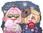 2girls ahoge bangs black_kimono blonde_hair blue_hair blush breasts candy_apple chibi cotton_candy ear_piercing earrings eating fang fireworks food food_on_face ghost_print hair_over_one_eye hands_up heart heart-shaped_eyewear heart_print holding holding_food idolmaster idolmaster_cinderella_girls japanese_clothes jewelry kimono large_breasts licking long_sleeves mask mask_on_head multicolored_hair multiple_girls night night_sky obi open_mouth piercing pink-framed_eyewear pink_hair red_eyes sash shirasaka_koume short_hair skull sky sunglasses takatoo_kurosuke tongue tongue_out two-tone_hair upper_body white_kimono yukata yumemi_riamu