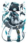 1girl animal_ears asymmetrical_legwear black_hair blue_eyes breasts choker dress fork frilled_dress frills gun handgun highres holding_dress knife lace long_sleeves open_mouth original pistol ribbon saijo1201 scar shoes short_hair simple_background small_breasts solo standing tagme thigh-highs torn_clothes torn_legwear twitter_username weapon