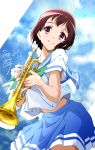 1girl blue_serafuku brown_hair clouds cloudy_sky commentary dated day from_below green_neckwear hibike!_euphonium highres instrument midriff_peek mole mole_under_eye nakaseko_kaori neckerchief nii_manabu outdoors pleated_skirt red_eyes sailor_collar school_uniform serafuku short_hair signature skirt sky smile solo trumpet upper_body
