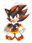 1boy animal_ears animal_nose blush closed_mouth commentary english_commentary frown full_body furry gloves hedgehog_boy hedgehog_ears hedgehog_tail highres kaijumilk_(milkchaotea) looking_at_viewer male_focus multicolored_hair outline red_eyes redhead shadow_the_hedgehog shoes simple_background solo sonic_(series) standing tail two-tone_hair white_background white_footwear white_gloves white_outline