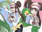 1girl bike_shorts black_legwear blue_eyes blush breasts brown_hair closed_eyes coffee cowboy_shot double_bun drinking drinking_straw hat highres long_sleeves mei_(pokemon) miniskirt multiple_views open_mouth pink_headwear pokemon pokemon_(game) pokemon_bw2 pokemon_masters serperior shirt short_hair_with_long_locks shuri_(84k) sidelocks skirt small_breasts snivy twitter_username upper_body visor_cap watch watch white_headwear
