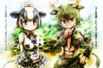 >:) 2girls abs animal_ears animal_print arms_behind_back aurochs_(kemono_friends) bangs bare_shoulders black_hair bow bowtie breasts brown_eyes camouflage camouflage_shirt camouflage_skirt commentary_request cow_ears cow_horns cow_print cow_tail crop_top cropped_shirt dark_skin day elbow_gloves empty_eyes extra_ears frilled_skirt frills gloves green_hair hair_bow hand_on_hip hand_up holstein_friesian_cattle_(kemono_friends) horns impossible_clothes kemono_friends long_sleeves looking_at_viewer multicolored_hair multiple_girls necktie outstretched_arms shirt short_hair short_over_long_sleeves short_sleeves sidelocks skirt smile stealstitaniums stomach tail translation_request two-tone_hair v-shaped_eyebrows white_hair