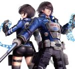 1boy 1girl akira_howard ass astral_chain brother_and_sister brown_eyes brown_hair chain gloves gonzarez highres jacket looking_at_viewer police police_uniform short_hair siblings simple_background uniform weapon white_background