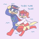 anthro buke3jp canid canine cape clothing duo female fox hand_holding hat headgear headwear kaiketsu_zorori male male/female mammal pink_background running simple_background straight zorori