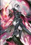 1girl absurdres ahoge armor armored_boots armored_dress bangs black_legwear boots breasts cape clouds cloudy_sky dress eyebrows_visible_through_hair fate/grand_order fate_(series) fire fur-trimmed_cape fur_collar fur_trim gauntlets headpiece highres holding holding_sword holding_weapon jeanne_d'arc_(alter)_(fate) jeanne_d'arc_(fate)_(all) kousaki_rui large_breasts long_hair looking_at_viewer medium_breasts open_mouth outdoors scan short_hair signature silver_hair sky smile solo sword thigh-highs torn_clothes torn_legwear tsurime weapon yellow_eyes
