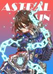 1girl akira_howard astral_chain brown_eyes brown_hair chain gloves h9454cl6reg hair_ornament highres jacket long_sleeves looking_at_viewer police police_uniform short_hair simple_background solo thick_lips uniform