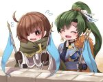 1boy 1girl black_gloves brown_hair closed_eyes earrings fingerless_gloves fire_emblem fire_emblem:_the_blazing_blade fire_emblem_heroes flag gloves green_hair highres holding holding_flag jewelry long_hair long_sleeves lyn_(fire_emblem) mark_(fire_emblem:_the_blazing_blade) nakabayashi_zun open_mouth ponytail red_eyes short_hair upper_body