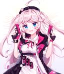 1girl absurdres bangs black_headwear black_jacket blue_eyes blush breasts commentary_request dress eyebrows_visible_through_hair fangs fingerless_gloves girls_frontline gloves gun hair_ornament hairclip hat heart_facial_mark highres holding holding_gun holding_weapon jacket long_hair looking_at_viewer medium_breasts pink_gloves pink_hair pink_heart pink_jacket pink_nails pink_ribbon ribbon short_sleeves single_glove solo twintails user_gzwf2823 weapon white_dress zipper
