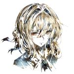 1girl abstract bangs blonde_hair blush brooch closed_mouth crying eyebrows_visible_through_hair hair_between_eyes highres jewelry kvpk5428 long_hair looking_at_viewer neckwear sidelocks simple_background solo tears upper_body violet_evergarden violet_evergarden_(character) white_background