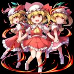3girls ascot black_background blonde_hair blush commentary_request crystal fang fire flandre_scarlet four_of_a_kind_(touhou) full_body fun_bo hat holding_hands looking_at_viewer mob_cap multiple_girls multiple_persona no_shoes open_mouth red_eyes red_skirt red_vest ring_of_fire shirt short_hair short_sleeves side_ponytail simple_background skirt slit_pupils smile socks touhou vest white_legwear white_shirt wings yellow_neckwear