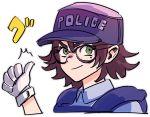 1girl astral_chain baseball_cap black_hair glasses gloves green_eyes hat kimura_hajime marie_wentz mole official_art police police_uniform short_hair thumbs_up uniform