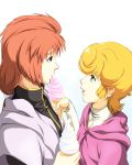 2girls audrey_burne blonde_hair brown_hair cape commentary_request eating food fugakuhyakkei green_eyes gundam gundam_unicorn ice_cream long_hair marida_cruz military military_uniform mineva_lao_zabi multiple_girls open_mouth short_hair simple_background uniform violet_eyes white_background