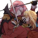 2girls arm_over_head azur_lane black_bra black_cape black_gloves blonde_hair blue_eyes blue_ribbon bra braid breasts cape cowl duke_of_york_(azur_lane) earrings epaulettes eye_contact fang french_braid glaring gloves hand_on_another's_face jewelry lace lace-trimmed_bra looking_at_another multiple_girls pink_hair pointy_ears prince_of_wales_(azur_lane) red_cape red_eyes ree_(re-19) ribbon smile sword underwear weapon