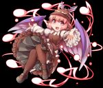 1girl animal_ears black_background black_footwear blush brown_dress brown_legwear commentary_request dress eighth_note eyebrows_visible_through_hair feathered_wings full_body fun_bo hat long_sleeves looking_at_viewer magic musical_note mystia_lorelei open_mouth pink_eyes pink_hair puffy_long_sleeves puffy_sleeves shirt simple_background sleeves_past_wrists smile solo thigh-highs touhou white_shirt wings