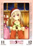 1girl absurdres blonde_hair blush box braid breasts calendar_(medium) christmas fate/kaleid_liner_prisma_illya fate/stay_night fate_(series) gift gift_box hat highres illyasviel_von_einzbern long_hair looking_at_viewer official_art open_mouth red_eyes santa_hat small_breasts smile solo stuffed_toy white_hair