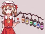 1girl :d arm_at_side artist_name ascot bare_arms blonde_hair buttons eyebrows_visible_through_hair fangs flandre_scarlet frilled_shirt frilled_shirt_collar frilled_sleeves frills grey_background hair_between_eyes hand_up hat hat_ribbon heart lirilias looking_at_viewer medium_hair mob_cap open_mouth red_eyes red_vest ribbon shirt short_sleeves side_ponytail simple_background skirt skirt_set slit_pupils smile solo touhou undertale upper_body vest white_shirt wings yellow_neckwear