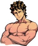 1boy brown_hair closed_eyes crossed_arms male_focus muscle pokemon pokemon_(anime) shirtless smile solo space_jin spiky_hair takeshi_(pokemon) upper_body