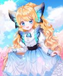1girl absurdres bangs blonde_hair blue_dress blue_eyes butterfly_hair_ornament clouds commentary_request day dress eyebrows_visible_through_hair frills hair_ornament highres long_hair original outdoors princess puffy_sleeves smile solo user_gzwf2823 very_long_hair wavy_hair