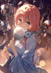 1girl alternate_costume bangs bison_cangshu blue_eyes blue_kimono blurry blurry_background blush bow breasts brown_hair commentary_request covered_mouth depth_of_field eyebrows_visible_through_hair fan go-toubun_no_hanayome hair_between_eyes hands_up headphones headphones_around_neck highres holding holding_fan japanese_clothes kimono long_hair looking_at_viewer medium_breasts nakano_miku obi paper_fan sash sidelocks solo uchiwa upper_body white_bow wind_chime