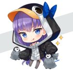 1girl :q animal animal_hood artist_name bangs bird black_jacket blue_bow blue_eyes blush bow chibi closed_mouth commentary english_commentary eyebrows_visible_through_hair fate/grand_order fate_(series) full_body grey_background hitsukuya hood hood_up hooded_jacket jacket long_hair long_sleeves looking_at_viewer meltryllis meltryllis_(swimsuit_lancer)_(fate) penguin penguin_hood puffy_long_sleeves puffy_sleeves purple_hair signature sleeves_past_fingers sleeves_past_wrists smile solo sparkle tongue tongue_out two-tone_background very_long_hair white_background