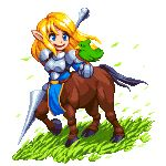 1girl armor bird bird_on_hand blonde_hair blue_eyes centaur full_body gauntlets grass holding_lance lance leaves_in_wind open_mouth original outdoors pixel_art pixelflag pointy_ears polearm sidelocks smile solo weapon wind