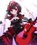 1girl absurdres amamiya_ren amamiya_ren_(cosplay) atlus bang_dream! bangs black_dress black_hair bob_cut breasts bushiroad card commentary_request cosplay dress eyebrows_visible_through_hair face_mask frills from_below guitar hair_between_eyes hair_ornament highres holding_guitar instrument looking_at_viewer mask mask_removed megami_tensei mitake_ran multicolored_hair persona persona_5 redhead short_hair smile solo star streaked_hair sunrise_(studio) tokyo_mx user_gzwf2823