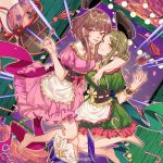 2girls :d alcohol apron bangs barefoot black_headwear blush breasts brown_hair candy candy_cane chinese_commentary commentary_request corset cup door dress drinking_glass dutch_angle eyebrows_visible_through_hair food frilled_shirt_collar frills green_hair green_nails grin hair_bun highres holding holding_food kagari6496 lollipop looking_at_viewer medium_breasts multiple_girls nail_polish neck_ribbon nishida_satono open_mouth pink_dress pink_neckwear pink_ribbon puffy_short_sleeves puffy_sleeves red_nails ribbon short_hair_with_long_locks short_sleeves sidelocks smile teireida_mai toenail_polish touhou violet_eyes waist_apron weibo_logo weibo_username white_apron wine wine_glass wrist_cuffs