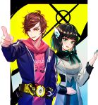 1boy 1girl :d absurdres bangs baocaizi belt black_bow black_hair blue_jacket blue_nails blue_sky bow breasts brown_hair commentary eyebrows_visible_through_hair fingernails green_eyes green_hair grey_jacket grey_shirt hair_ornament hand_on_own_stomach hand_up hiden_aruto highres hood hood_down hoodie humagear_headphones izu_(kamen_rider_01) jacket kamen_rider kamen_rider_01_(series) long_sleeves looking_at_viewer medium_breasts multicolored_hair nail_polish open_clothes open_jacket open_mouth pink_hoodie pointing shirt sky smile swept_bangs two-tone_hair yellow_eyes