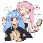 2girls alternate_hairstyle bangs blue_hair blunt_bangs blush brown_eyes closed_eyes closed_mouth do_m_kaeru fire_emblem fire_emblem:_three_houses garreg_mach_monastery_uniform hair_brush heart hilda_valentine_goneril holding_brush long_hair long_sleeves marianne_von_edmund multiple_girls open_mouth pink_hair simple_background speech_bubble spoken_blush spoken_heart twintails twitter_username uniform upper_body white_background