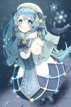 1girl absurdres aqua_eyes bass_clef beret blue_bow blue_dress blue_gloves blue_tabard blush boots bow braid capelet christmas_lights commentary dress foreshortening full_body fur-trimmed_boots fur-trimmed_capelet fur_trim gloves gold_trim hair_bow hair_ornament hairclip hand_up hat hatsune_miku highres light_blue_hair long_hair looking_at_viewer musical_note_hair_ornament night signature smile snowflake_print snowflakes snowing solo sotohane_haruko standing stone_floor tabard treble_clef twintails very_long_hair vocaloid white_capelet white_dress white_headwear yuki_miku yuki_miku_(2021)