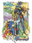 2boys armor blue_armor boots bykillt cape company_connection crossover dragon dragon_quest dragon_quest_i final_fantasy final_fantasy_i helmet hero_(dq1) horned_helmet looking_at_another multiple_boys shield smile standing sword warrior_of_light weapon