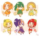 +_+ 6+girls :d :o ;d bangs bare_arms bare_shoulders blonde_hair blush_stickers bow bowtie braid brown_eyes brown_hair brown_headwear carrot cheek_bulge chibi closed_mouth commentary_request corn dress eyebrows_visible_through_hair food_request forehead green_dress green_eyes green_footwear green_hair green_neckwear hair_between_eyes hat heterochromia highres low_twintails multicolored multicolored_eyes multiple_girls one_eye_closed one_side_up open_mouth orange_dress orange_eyes orange_footwear orange_hair orange_shirt original outstretched_arm outstretched_arms parted_bangs parted_lips personification pink_eyes ponytail purple_dress purple_footwear purple_hair red_footwear red_shorts redhead round_teeth shirt shoes short_hair short_shorts short_sleeves shorts signature sleeveless sleeveless_dress smile sofra spread_arms standing standing_on_one_leg straw_hat suspender_shorts suspenders teeth tomato translated twin_braids twintails upper_teeth violet_eyes white_shirt yellow_dress yellow_footwear yellow_shorts