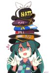 1girl artist_name bangs beret black_headwear black_sleeves blue_headwear clothes_writing collared_shirt commentary detached_sleeves eyebrows_visible_through_hair green_eyes green_hair green_headwear grey_shirt hair_between_eyes hands_up hat hatsune_miku headphones highres john_su long_hair long_sleeves notice_lines pun purple_headwear red_headwear romaji_commentary shirt signature simple_background sleeveless sleeveless_shirt solo too_many twintails upper_body vocaloid white_background yellow_headwear