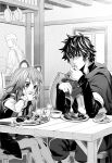 1girl 2boys animal_ears dress eating food fork greyscale holding holding_food holding_fork indoors iwatani_naofumi long_hair long_sleeves minami_seira monochrome multiple_boys novel_illustration official_art raccoon_ears raccoon_girl raphtalia shield shiny shiny_hair short_dress short_over_long_sleeves short_sleeves sitting spiky_hair table tate_no_yuusha_no_nariagari