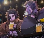 2boys alcohol animal animal_on_shoulder armor beer bell black_hair bottle brown_cape cape cat darshan_aga_zalqava eyepatch horns indoors jingle_bell light long_hair looking_at_another male_focus multiple_boys pink_skin pixiv_fantasia pixiv_fantasia_last_saga pointy_ears wine_bottle yukiji_(mogari) zokudan_(pixiv_fantasia_last_saga)