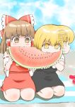 2girls afterimage black_skirt black_vest blanket blonde_hair blue_sky blush bosutonii bow brown_eyes brown_hair clouds commentary_request day detached_sleeves eating eyebrows_visible_through_hair fangs food fruit hair_between_eyes hair_bow hair_tubes hakurei_reimu highres holding holding_food kirisame_marisa looking_down medium_hair melon_slice motion_lines multiple_girls no_hat no_headwear outdoors puffy_short_sleeves puffy_sleeves red_skirt red_vest ribbon-trimmed_sleeves ribbon_trim sandals sandals_removed seiza shared_food shirt short_sleeves sitting skirt sky spitting sweatdrop touhou vest watermelon watermelon_seeds white_shirt yellow_eyes