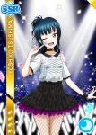 blue_hair blush character_name dress long_hair love_live!_school_idol_festival love_live!_sunshine!! pink_eyes smile tsushima_yoshiko