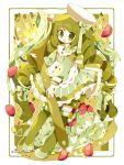 1girl buttons dress drill_hair food fork frilled_dress frills green_eyes green_hair hair_ribbon hate highres long_hair long_sleeves looking_at_viewer open_mouth original pasta plate ribbon saijo1201 shoes solo standing thigh-highs tomato twin_drills twitter_username very_long_hair