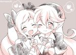 2girls armor bow closed_eyes closed_mouth corrin_(fire_emblem) corrin_(fire_emblem)_(female) elise_(fire_emblem) eromame fire_emblem fire_emblem_fates grey_background hair_bow hairband long_hair manakete multiple_girls one_eye_closed open_mouth pointy_ears simple_background smile twintails twitter_username upper_body