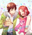 1boy 1girl :d blush brother_and_sister brown_hair choker closed_eyes confetti dress english_text food garo:vanishing_line garo_(series) green_jacket hand_on_head highres holding holding_stuffed_animal jacket martin_hennes nc4 open_mouth pancake red_choker redhead shirt short_hair siblings simple_background smile sophia_hennes stack_of_pancakes standing stuffed_animal stuffed_toy whipped_cream white_background white_dress white_shirt