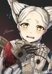 1girl blonde_hair bodysuit hair_ornament hairclip hand_up humanization kuva open_mouth out_of_frame tears warframe white_hair worm_queen yellow_eyes zxpfer