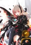 1girl artist_name assault_rifle backlighting bangs black_gloves black_jacket black_legwear blurry blurry_background breasts commentary_request depth_of_field dinergate_(girls_frontline) dyolf eyebrows_visible_through_hair fangs girls_frontline gloves glowing gun hair_between_eyes headgear highres holding holding_gun holding_weapon jacket light_brown_hair long_hair m4_carbine m4_sopmod_ii_(girls_frontline) medium_breasts multicolored_hair object_namesake open_mouth rain redhead rifle signature standing standing_on_one_leg streaked_hair thigh-highs very_long_hair violet_eyes weapon