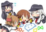 4girls akatsuki_(kantai_collection) anchor_symbol black_hair black_legwear black_sailor_collar black_skirt brown_hair chibi commentary_request crayon drawing flat_cap flying_sweatdrops folded_ponytail hair_ornament hairclip hat hibiki_(kantai_collection) ikazuchi_(kantai_collection) inazuma_(kantai_collection) kantai_collection kneehighs long_hair long_sleeves multiple_girls neckerchief open_mouth oshiruko_(uminekotei) pantyhose pleated_skirt red_neckwear sailor_collar school_uniform serafuku shirt short_hair silver_hair simple_background skirt white_background white_shirt ||_||