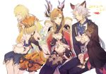 2boys 3girls a082 animal_ears black_hairband black_pants blonde_hair blue_neckwear blush breasts brooch brown_hair character_request closed_eyes cup dated erune formal granblue_fantasy green_eyes hairband hood jewelry long_hair looking_at_another medium_breasts multiple_boys multiple_girls navel open_mouth orange_headwear orange_shorts pants red_eyes shorts sidelocks silver_hair sitting song_(granblue_fantasy) suit teacup teapot thigh-highs white_background