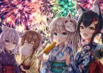4girls :3 absurdres animal_ear_fluff animal_ears bag bamboo_shoot black_hair black_kimono blue_eyes blue_kimono blush bone_hair_ornament braid brown_hair cat_ears closed_eyes commentary corn cotton_candy dog_ears fang fireworks food fox_ears from_side highres holding holding_bag holding_food hololive huge_filesize inugami_korone japanese_clothes kimono looking_at_viewer mask mask_on_head medium_hair multicolored_hair multiple_girls namekuji_ojiichan nekomata_okayu night night_sky obi ookami_mio open_mouth oruyanke_(fubuki_channel) outdoors purple_hair purple_kimono redhead sash shirakami_fubuki short_hair skin_fang sky smile streaked_hair summer_festival upper_body violet_eyes virtual_youtuber white_hair wolf_ears yellow_eyes yellow_kimono yukata
